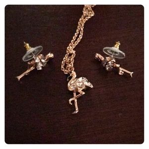 Kate Spade Flamingo Necklace and Earring Set